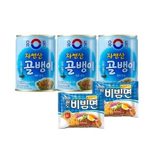 [무료배송] 자연산 골뱅이300gx 3 +팔도비빔면 2봉