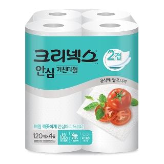[슈퍼마트] 크리넥스 안심 키친타올 클래식 120매*4롤