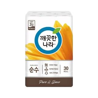 [슈퍼마트] 깨끗한나라 3겹 데코 순수 27Mx30롤