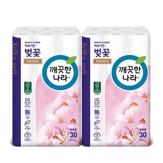 [티몬균일가] 깨끗한나라 3겹데코 벚꽃 프리미엄 27m 30롤 x2개